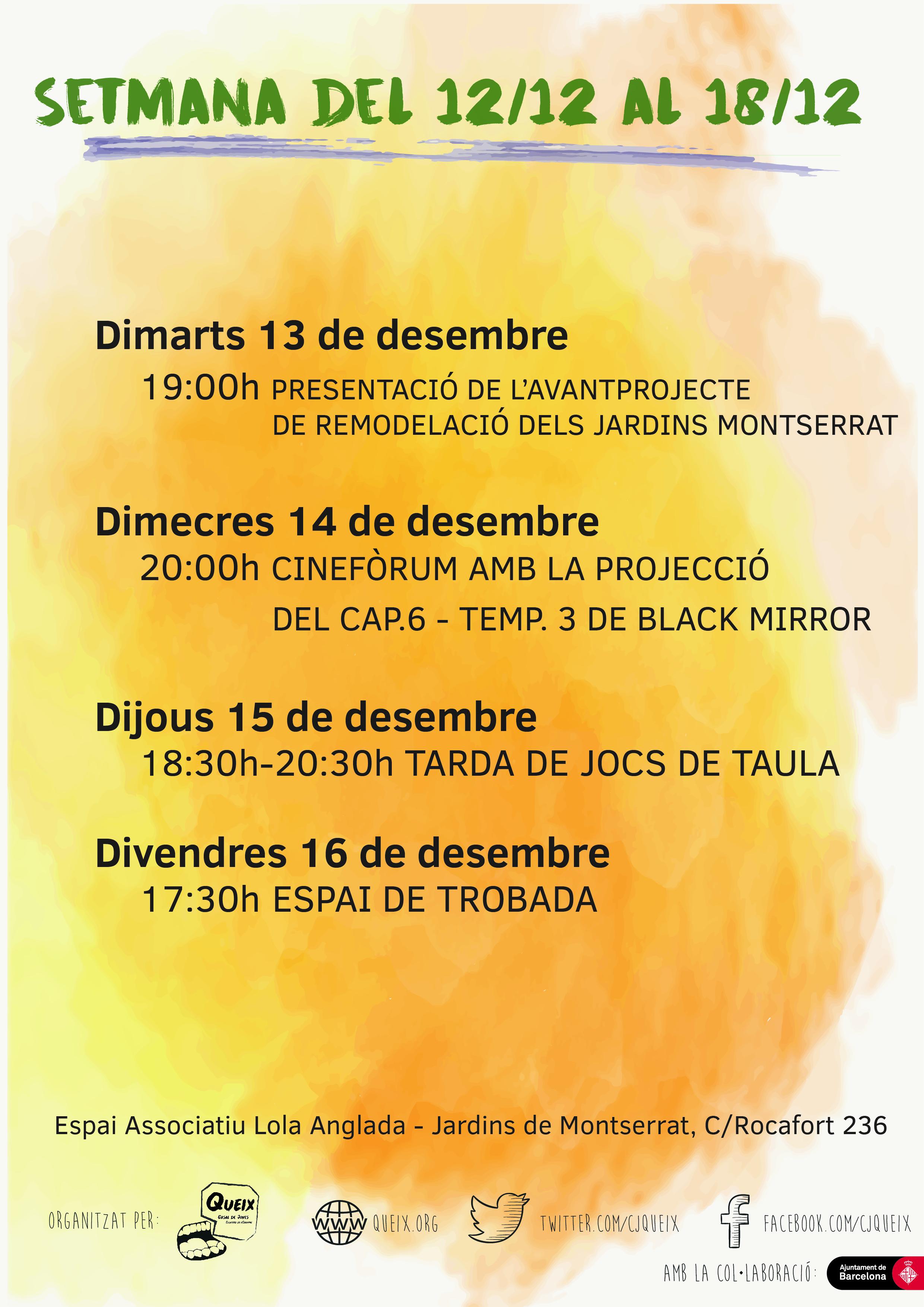 Planning de la setmana del 12/12 a 18/12